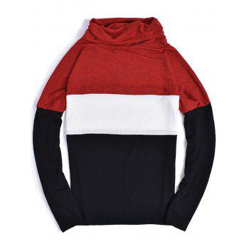 Color Block Panel Piles Collar Sweater - RED M