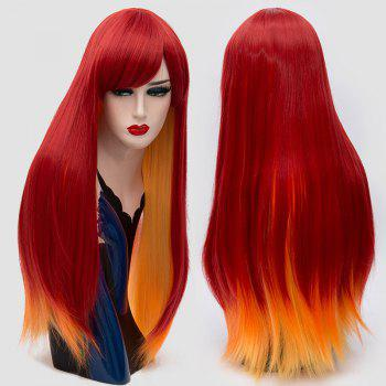 Side Bang Long Straight Synthetic Two Tone Party Wig - RED RED