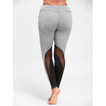 Mesh Insert High Waist Yoga Leggings - GRAY GRAY