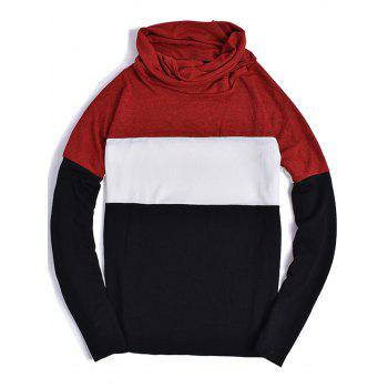 Color Block Panel Piles Collar Sweater - RED L