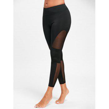 Midi Waist Mesh Panel See Through Yoga Leggings - BLACK M