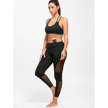 Midi Waist Mesh Panel See Through Yoga Leggings - M M