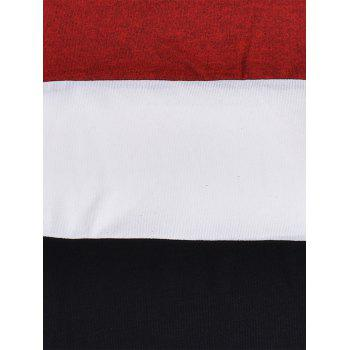 Color Block Panel Piles Collar Sweater - RED RED