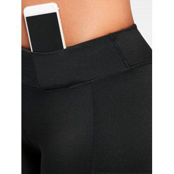 See Through Mesh Panel Sports Leggings - BLACK S