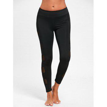 See Through Mesh Panel Sports Leggings - S S