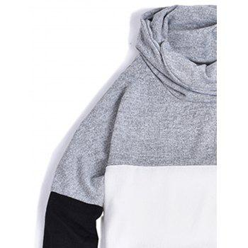 Color Block Panel Piles Collar Sweater - LIGHT GRAY M