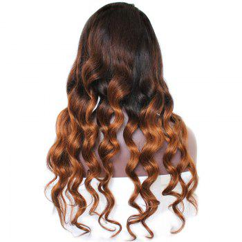 Indian Virgin Long Side Part Loose Wave Colormix Lace Front Human Hair Wig - DARK BROWN OMBRE