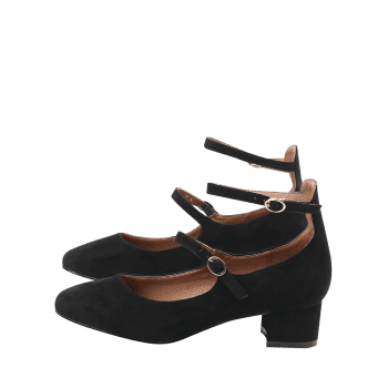 Ankle Strap Buckle Straps Pumps - BLACK 36