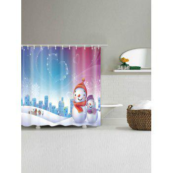 Snowman Christmas Snowscape Waterproof Shower Curtain - W71 INCH * L79 INCH W71 INCH * L79 INCH
