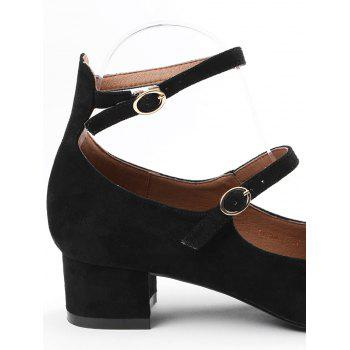 Ankle Strap Buckle Straps Pumps - BLACK 37