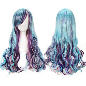 Colorful Harajuku Lolita Long Side Bang Wavy Cosplay Wig - COLORFUL COLORFUL