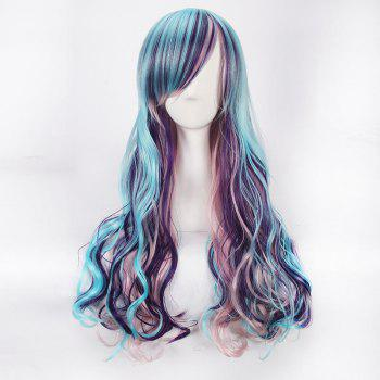 Colorful Harajuku Lolita Long Side Bang Wavy Cosplay Wig -  COLORFUL