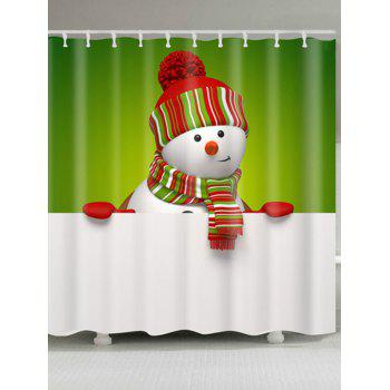 Polyester Waterproof Snowman Christmas Shower Curtain - WHITE AND GREEN W59 INCH * L71 INCH