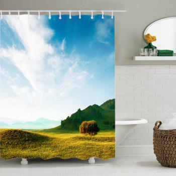 Grasslands Print Fabric Waterproof Shower Curtain - COLORMIX W71 INCH * L71 INCH