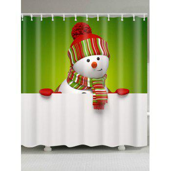 Polyester Waterproof Snowman Christmas Shower Curtain - WHITE AND GREEN W71 INCH * L71 INCH