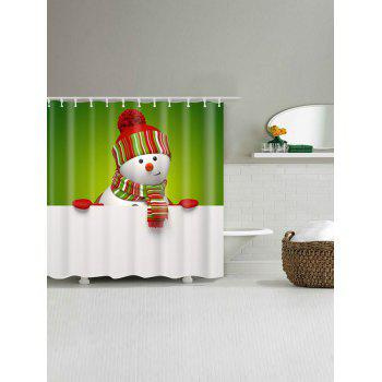 Polyester Waterproof Snowman Christmas Shower Curtain - W71 INCH * L79 INCH W71 INCH * L79 INCH