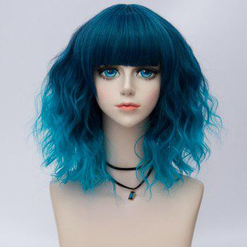 Medium Side Bang Water Wave Ombre Synthetic Party Cosplay Wig - BLUE