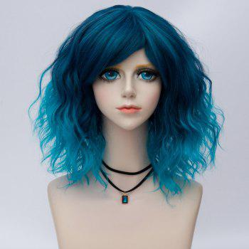 Medium Side Bang Water Wave Ombre Synthetic Party Cosplay Wig - BLUE BLUE