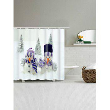 Snowman Couples Printed Christmas Waterproof Bath Curtain - WHITE W59 INCH * L71 INCH