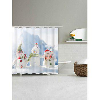 Snowman Family Print Waterproof Polyester Bath Curtain - WHITE W59 INCH * L71 INCH