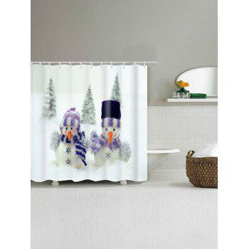 Snowman Couples Printed Christmas Waterproof Bath Curtain - WHITE W71 INCH * L71 INCH