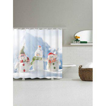 Snowman Family Print Waterproof Polyester Bath Curtain - WHITE W71 INCH * L71 INCH