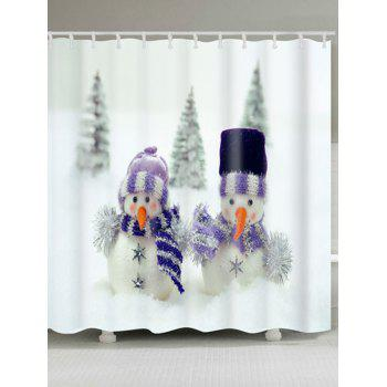 Snowman Couples Printed Christmas Waterproof Bath Curtain - WHITE WHITE