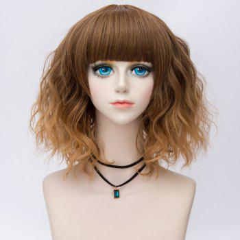 Medium Side Bang Water Wave Ombre Synthetic Party Cosplay Wig -  BROWN