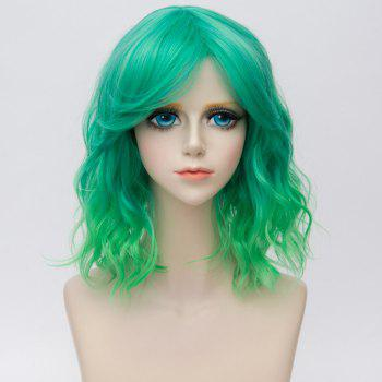 Medium Side Bang Water Wave Ombre Synthetic Party Cosplay Wig - GREEN GREEN