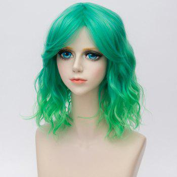 Medium Side Bang Water Wave Ombre Synthetic Party Cosplay Wig - GREEN