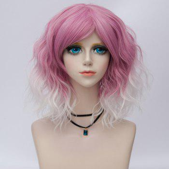 Medium Side Bang Water Wave Ombre Synthetic Party Cosplay Wig - PEACH RED PEACH RED