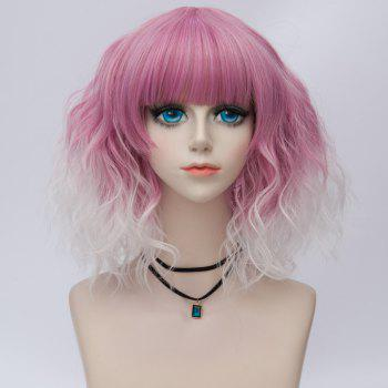 Medium Side Bang Water Wave Ombre Synthetic Party Cosplay Wig -  PEACH RED