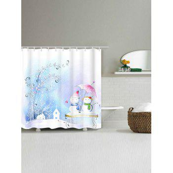 Snowman Couples Printed Waterproof Shower Curtain - W71 INCH * L71 INCH W71 INCH * L71 INCH