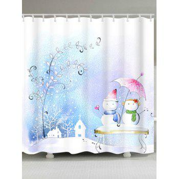 Snowman Couples Printed Waterproof Shower Curtain - COLORMIX COLORMIX