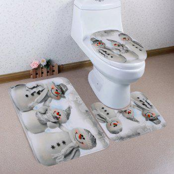 Christmas Snowmen Family Pattern 3 Pcs Toilet Mat Bath Mat