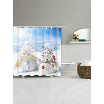 Two Snowmen Print Polyester Waterproof Bath Curtain - WHITE WHITE