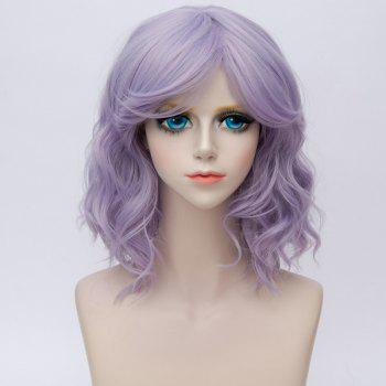 Medium Side Bang Water Wave Ombre Synthetic Party Cosplay Wig - BLUE VIOLET BLUE VIOLET