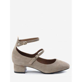 Ankle Strap Buckle Straps Pumps - APRICOT 34
