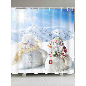 Two Snowman Print Polyester Waterproof Bath Curtain - WHITE W71 INCH * L79 INCH