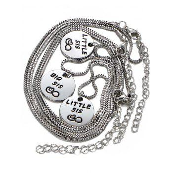 3PCS Engraved Heart Sister Box Chain Necklaces - SILVER