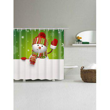 Snowman Printed Polyester Waterproof Bath Curtain - WHITE/GREEN W71 INCH * L71 INCH