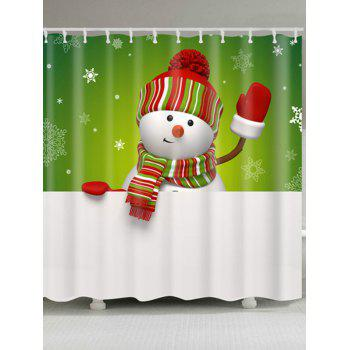 Snowman Printed Polyester Waterproof Bath Curtain - WHITE AND GREEN W71 INCH * L71 INCH
