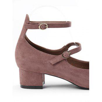 Ankle Strap Buckle Straps Pumps - BEAN PASTE COLOR 37