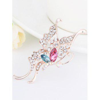 Faux Crystal Rhinestone Butterfly Brooch -  COLORFUL