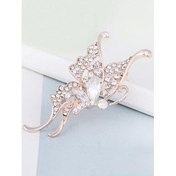 Faux Crystal Rhinestone Butterfly Brooch - WHITE