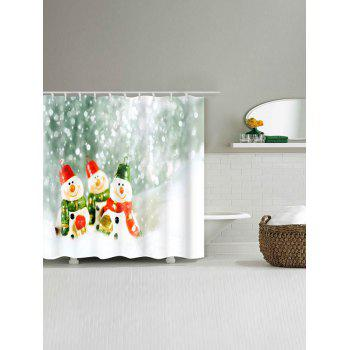 Three Snowmen Printed Christmas Waterproof Shower Curtain - COLORMIX COLORMIX