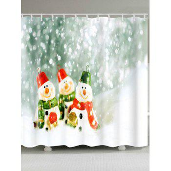 Three Snowman Printed Christmas Waterproof Shower Curtain - COLORMIX W71 INCH * L71 INCH
