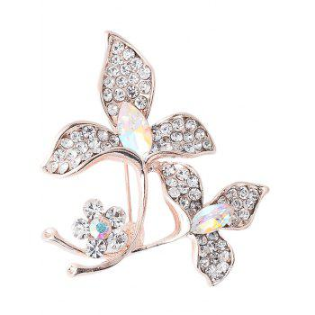 Faux Gem Rhinestone Floral Sparkly Brooch - WHITE WHITE