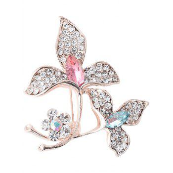 Faux Gem Rhinestone Floral Sparkly Brooch - COLORFUL COLORFUL