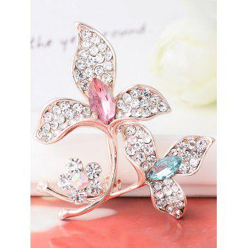 Faux Gem Rhinestone Floral Sparkly Brooch - COLORFUL